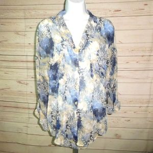 Free People Blue Floral Button Down Sheer Shirt M